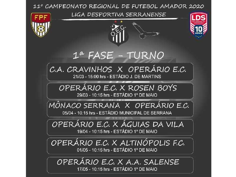 Liga Serranense atende pedido do Operário que jogará  em casa no dia da Festa do Trabalhador em 1º de Maio