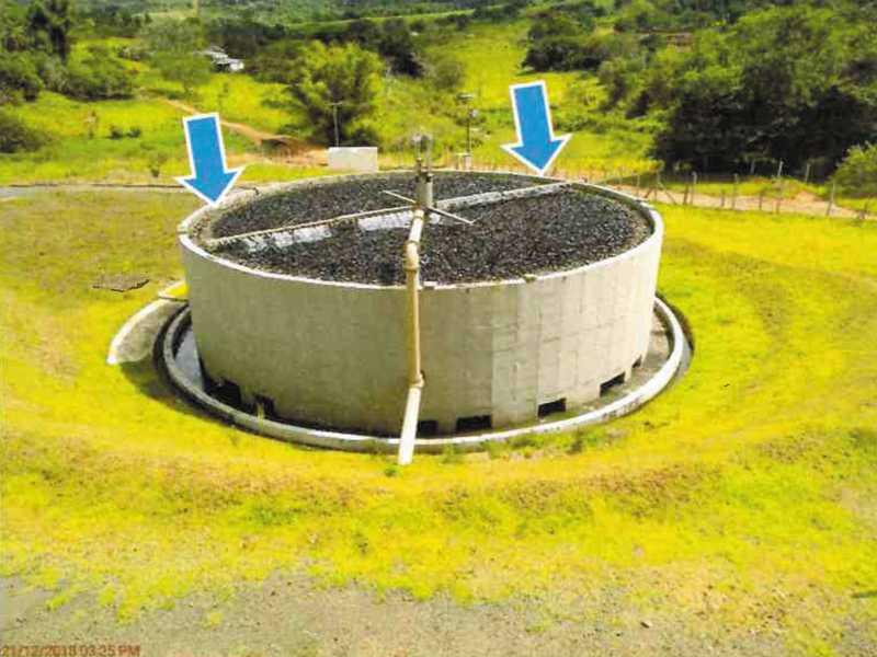 Distribuição irregular no filtro biológico percolador