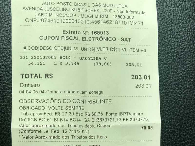 Consumidor Paraisense pagou R$3,74.9 pelo litro da gasolina neste posto de revenda de combustíveis na cidade de Mogi Mirim SP