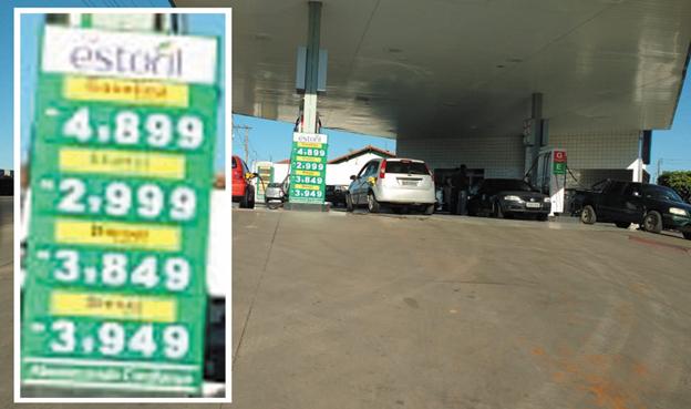 Nesta quinta Feira os preços dos Combustíveis  no Posto Estoril da Av.Washington Martoni, próximo do Terminal Rodoviário