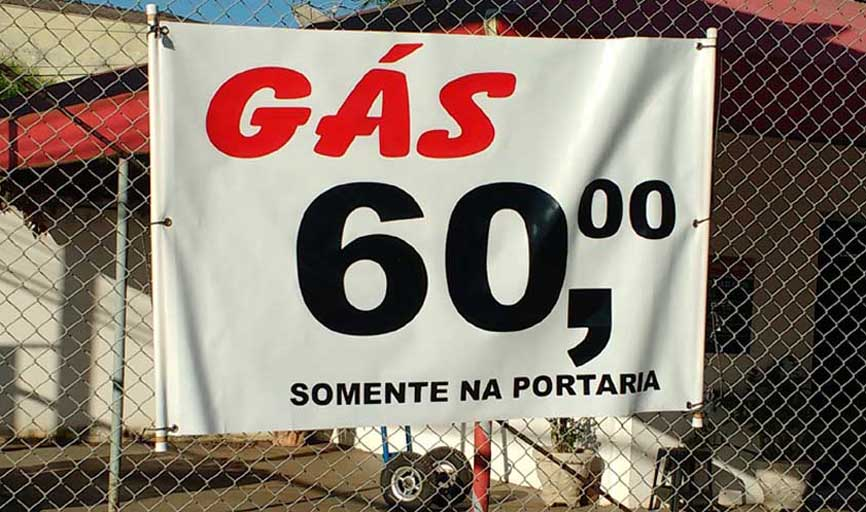 Gás Original R$ 60,00 no local de venda