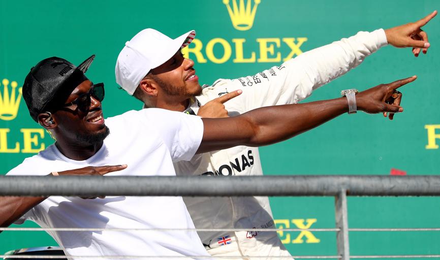 Lewis Hamilton compartilha com Usain Bolt a marca registrada  do homem mais rápido do mundo