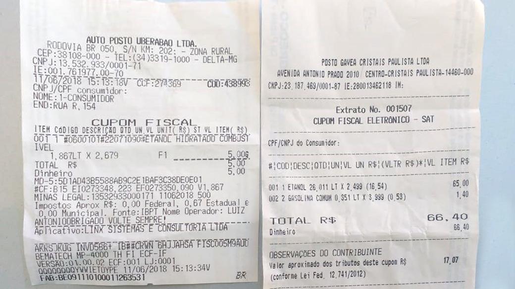 -Cupom Fiscal de preço de Etanol e Gasolina em Uberaba MG e Cristais Paulista-SP