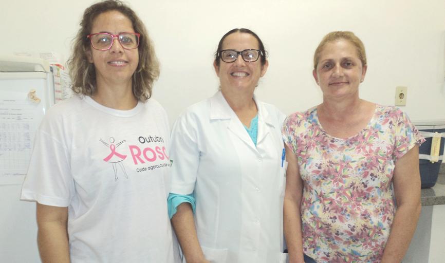Coordenadora Lucilene, vacinadoras Marlete e Magali