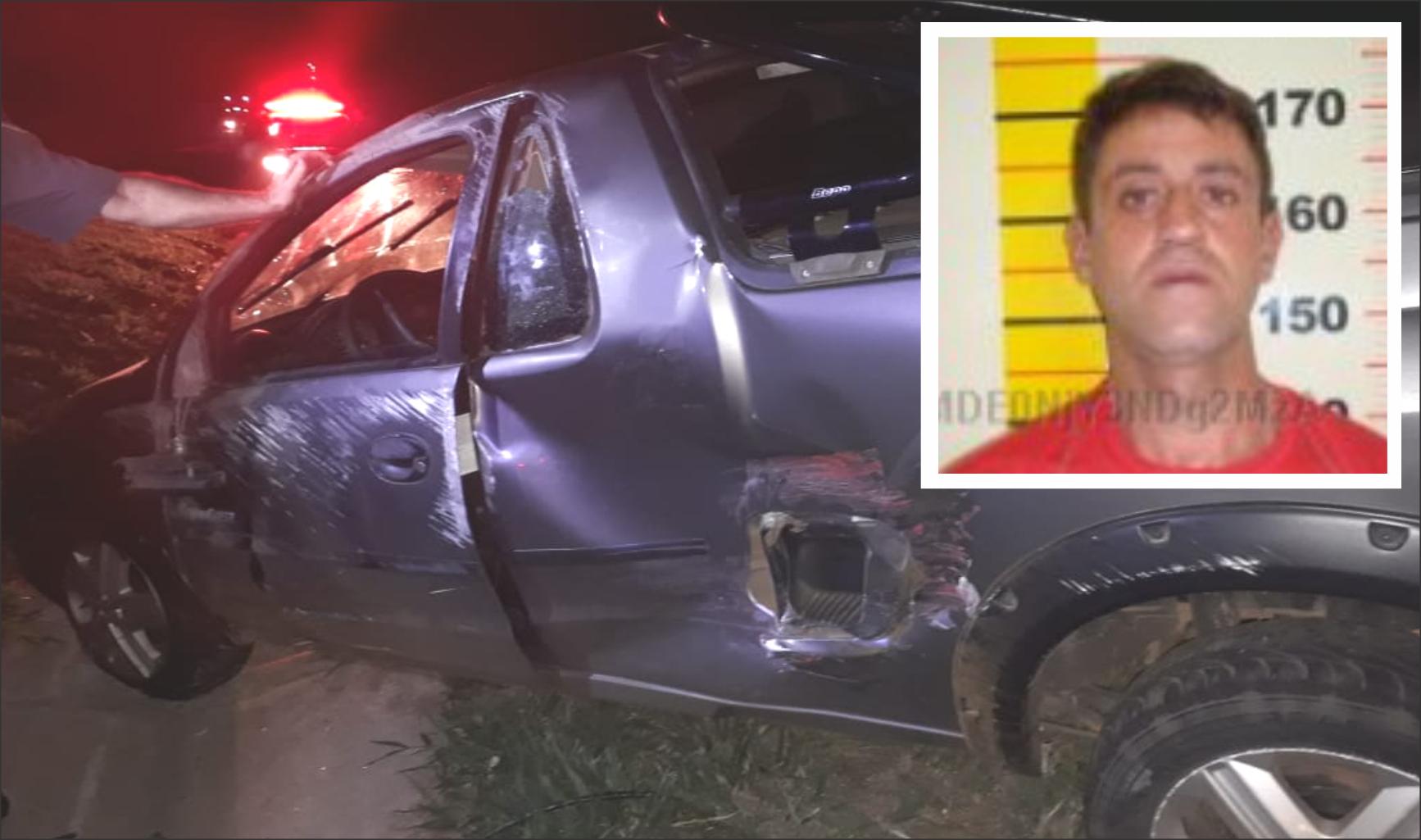 O homem teria tentado fugir, mas durante a fuga capotou o veículo, uma Montana