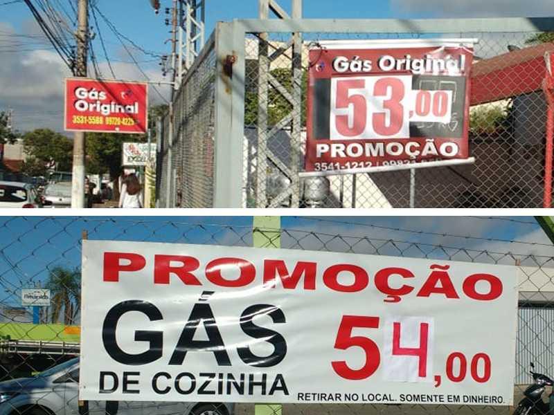 No estabelecimento Comercial Gás Original está vendendo por R$ 53.00 no local de venda e R$ 65.00 para entregar. No revendedor Alemão Gás o preço é R$ 54,00 no local de venda e R$ 58.99 para entregar