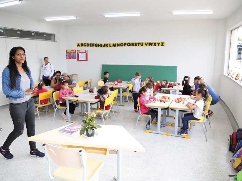 No primeiro dia de atividades no ambiente escolar recepção foi  realizada com atividades de acolhimento às crianças e aos pais