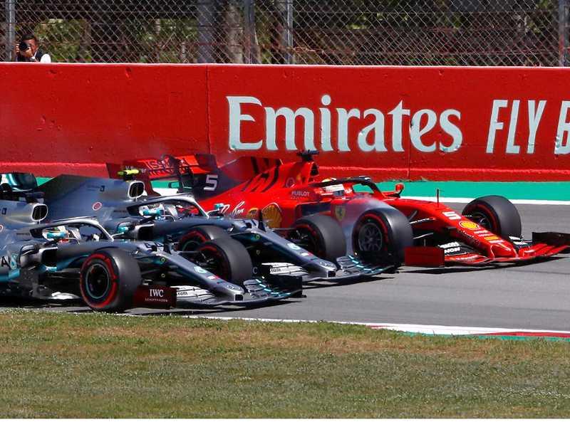 Largada do GP da Espanha: único momento em que a Ferrari ameaçou a Mercedes