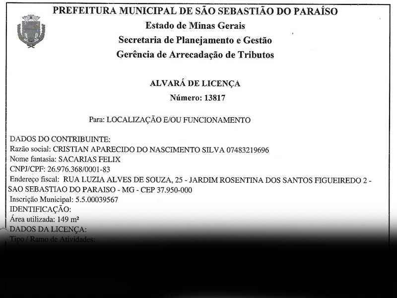 Alvará emitido pela prefeitura autorizando funcionamento da empresa e atestando respeito a legislação vigente do município