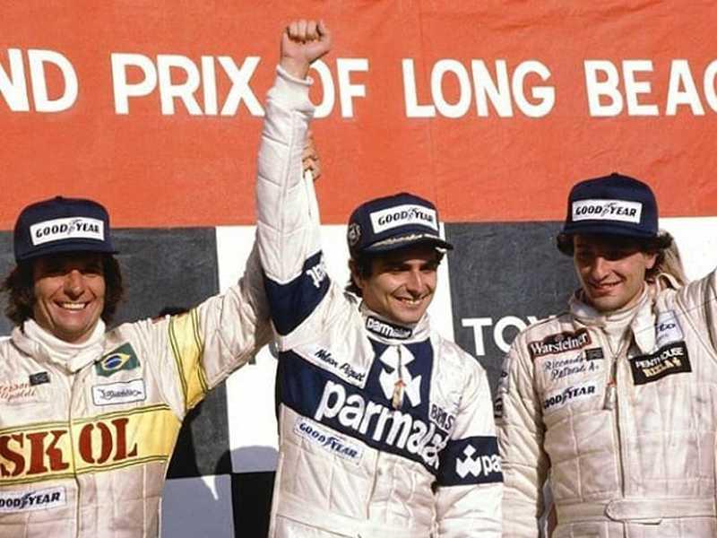 O ainda novato Piquet e o já consagrado Emerson Fittipaldi juntos no pódio do GP dos Estados Unidos de 1980