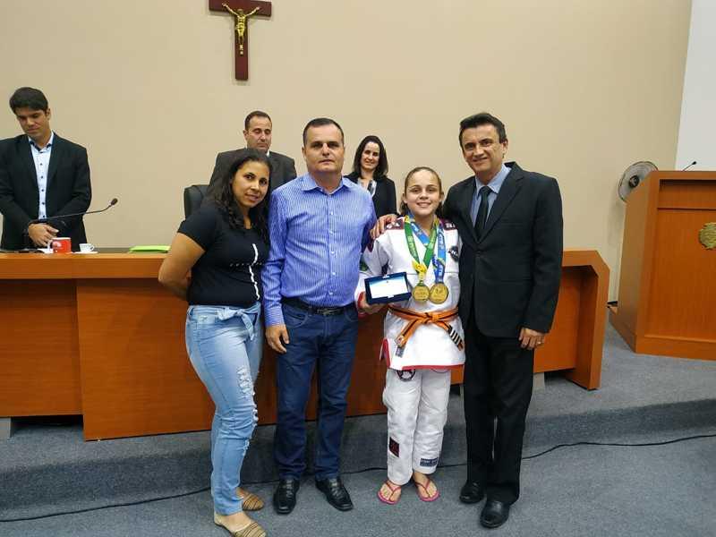 A lutadora de Jiu-Jítsu e família, Bianca Ciqueira