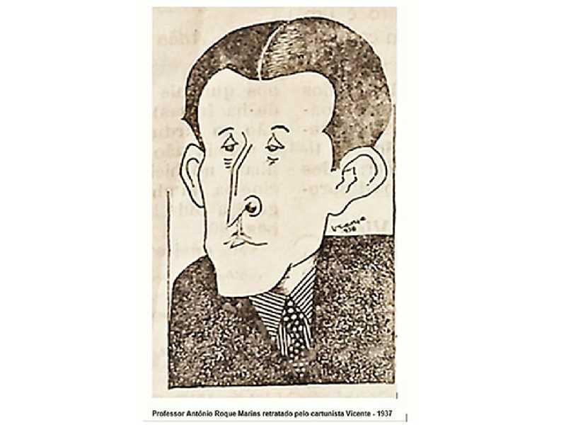 Professor Antônio Roque Marins  retratado pelo cartunista Vicente - 1937