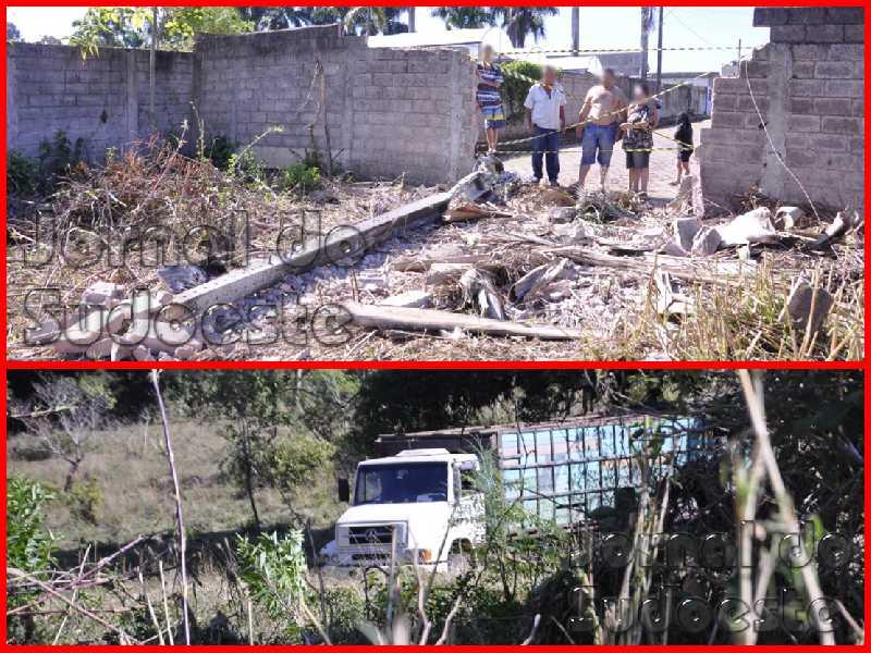 Caminhão desgovernado atinge muro, quebra poste e foi parar 200 metros do local do acidente