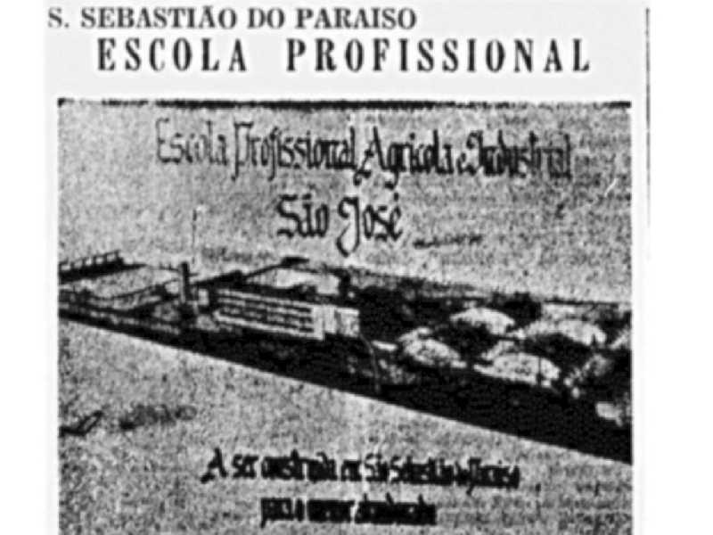 Fac-símile do projeto da Escola Profissional, Agrícola e Industrial São José, de São Sebastião do Paraíso. Correio Paulistano, São Paulo, em 21 de fevereiro de 1958