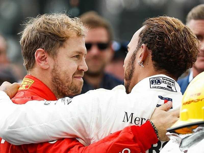 Vettel abraça Hamilton num gesto bacana de reconhecimento da superioridade do adversário