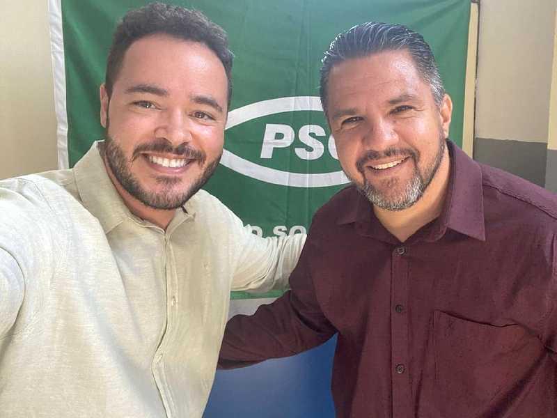 Os candidatos a vice-prefeito e prefeito, Daniel Tales e Marcelo de Morais