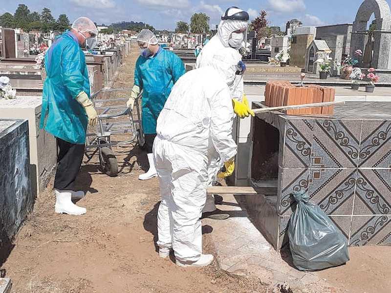 De março de 2020 a fevereiro de 2021 foram 629  sepultamentos em Paraíso, 80 a mais que no ano anterior