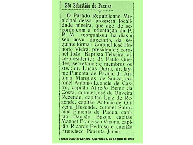 Fonte: Monitor Mineiro. Guaranésia, 13 de abril de 1924