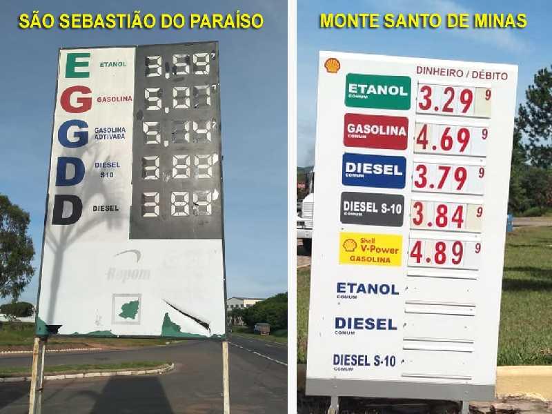 Postos da mesma rede cobram preços diferentes em Paraíso e Monte Santo