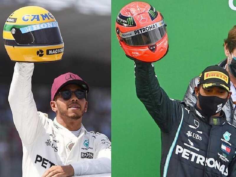 Dois momentos de Lewis Hamilton:  2017 ao igualar as 65 poles de Senna,  e domingo passado ao igualar as 91 vitórias de Schumacher