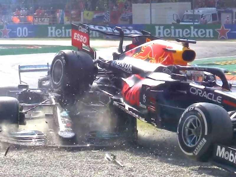 Mais uma vez o halo cumpriu o papel e salvou Hamilton de ser acertado na cabeça pela roda do carro de Verstappen