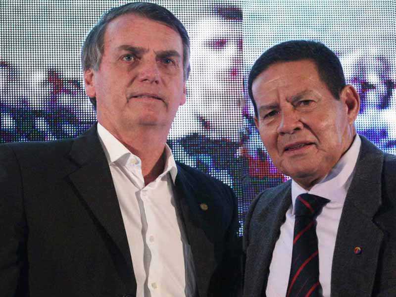 Jair Bolsonaro e o General Hamilton Mourão anunciado vice