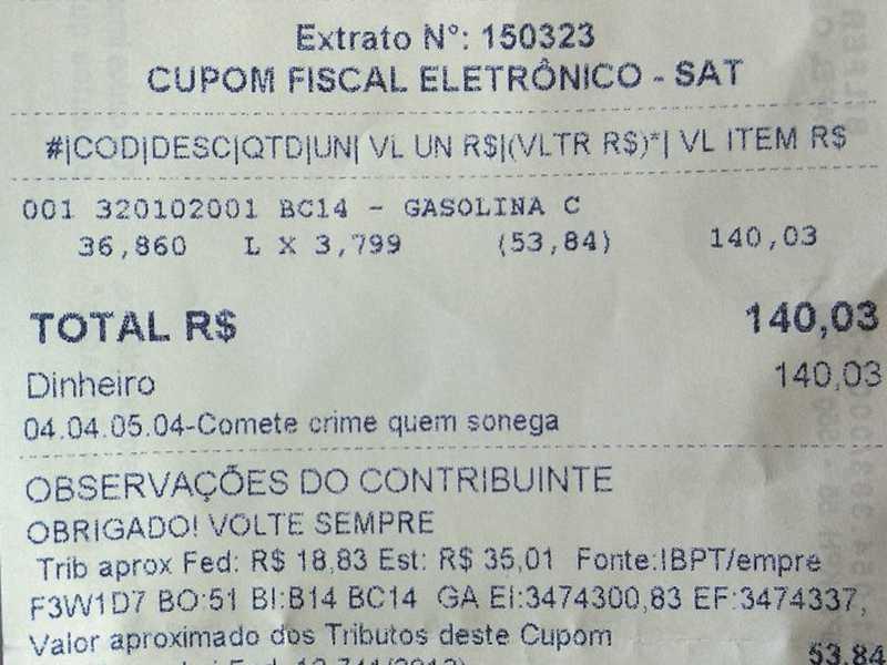 Mogi Mirim e encheu o tanque de seu veículo pagando R$ 3,799 pelo litro de gasolina