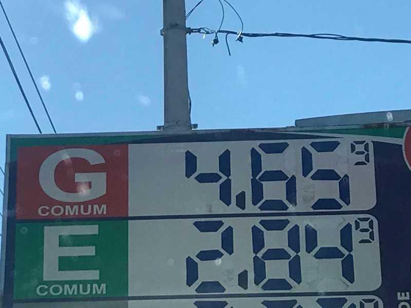 Na Rede de Posto San Marino na Cidade de Uberaba MG, o litro da gasolina custa R$ 4,659 do Etanol R$2,849. Redução foi conforme estabelecida pela Petrobras