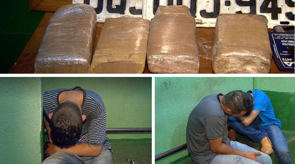 Vários tabletes de maconha estavam em poder dos acusado e foram apreendidos